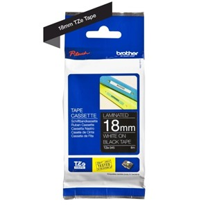 TZe345 Brother 18mm White on Black P-Touch tape