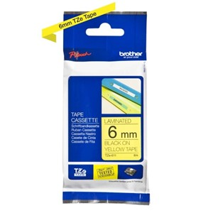 TZ-e611 Brother 6mm x 8m Black on Yellow Tape