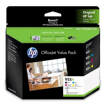 HP 955XL Office Value Pack + Prof Inkjet Matte Cards