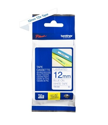 TZe233 Brother 12mm Blue on White P-Touch tape