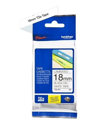 TZ-241 Brother 18mm Tape Black on White P-Touch tape