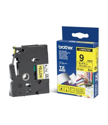 TZe621 Brother 9mm Black on Yellow P-Touch tape