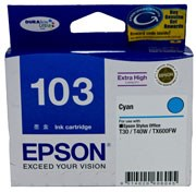 103 Epson High Capacity Cyan Ink Cartridge