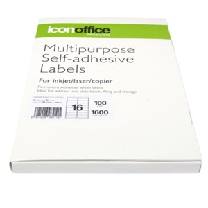 Icon Laser/Inkjet Labels - 16 Labels per sheet (100 sheets)