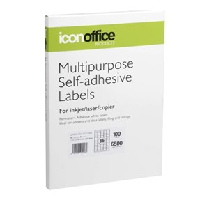 Icon Laser/Inkjet Labels - 65 Labels per sheet (100 sheets)