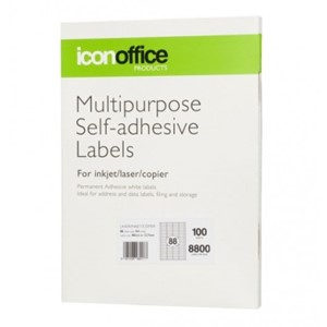 Icon Laser/Inkjet Labels - 88 Labels per sheet (100 sheets)