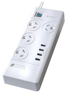 Sansai 4 Way Surge Powerboard w/4 USB Ports