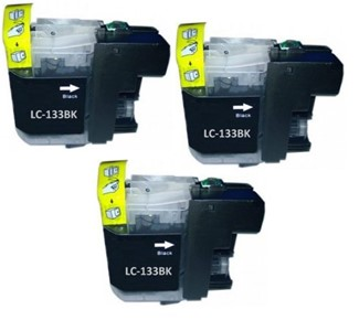 LC133BK Compatible Black Triple Pack for Brother